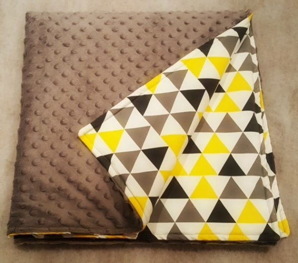 Grey and yellow triangles & grey minky Blanket 1