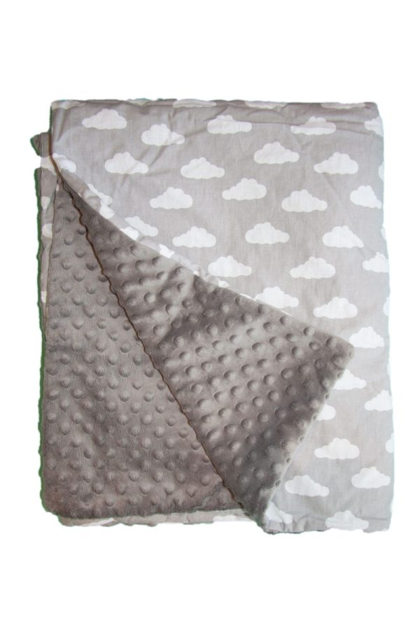 White clouds and grey minky blanket 1
