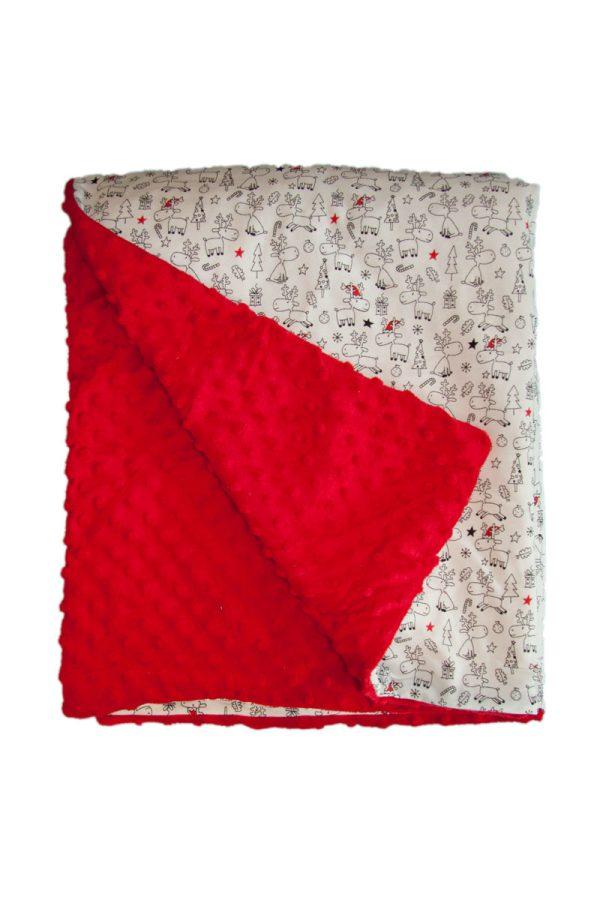 Reindeer and red minky baby blanket 1