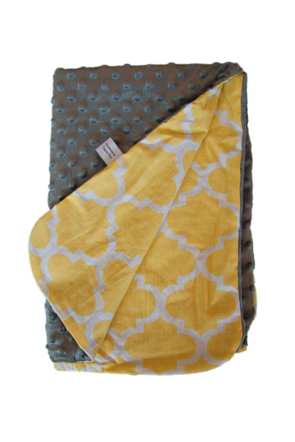 Yellow shapes and grey minky baby blanket 1