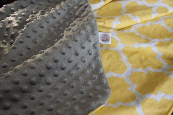 Yellow shapes and grey minky baby blanket 2