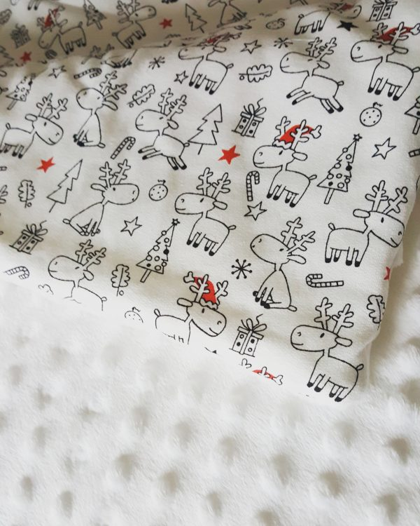 Christmas baby blanket with white minky 1