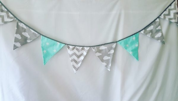 Mint and grey cotton bunting 1