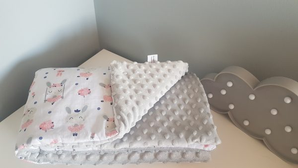 Bunnies and grey minky warm blanket 1