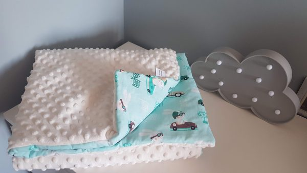 Bunnies in cars and cream minky warm blanket 2