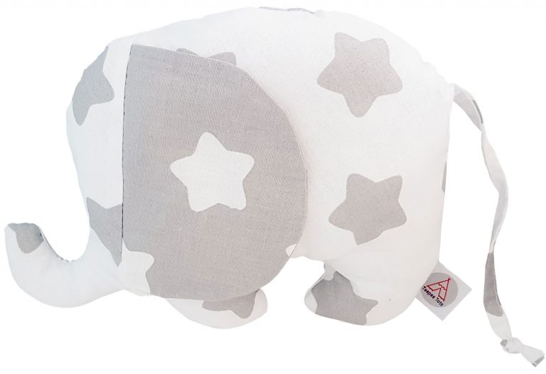 White-and-grey-stuffed-elephant-toypillow