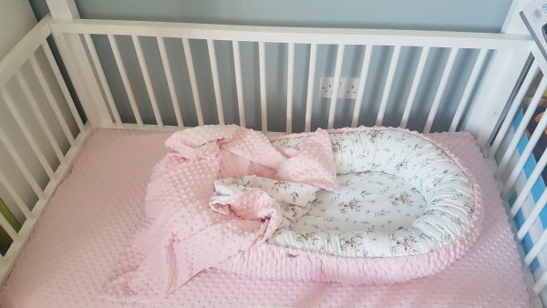 Deer and pink minky nest bed PREMIUM 2