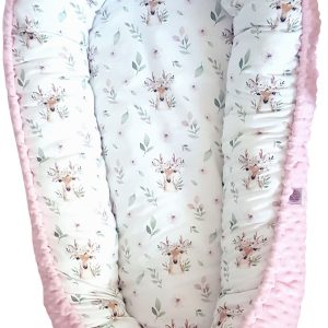 Deer-and-pink-minky-nest-bed-PREMIUM