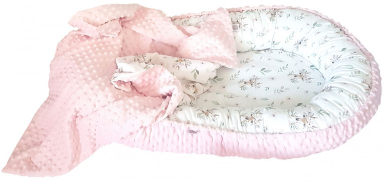 Deer and pink minky nest bed PREMIUM 1