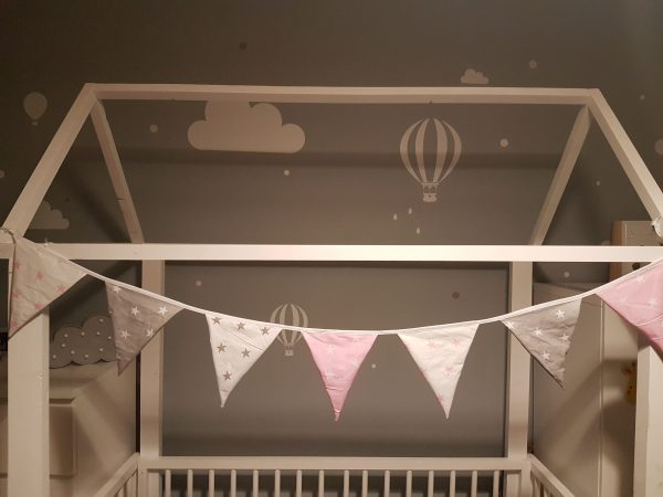 Pink and grey cotton bunting 2