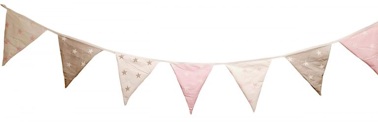 Pink and grey cotton bunting 1
