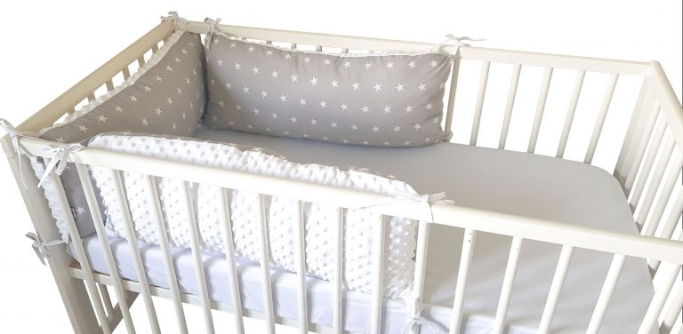 Stars and white minky pillow bumper 1
