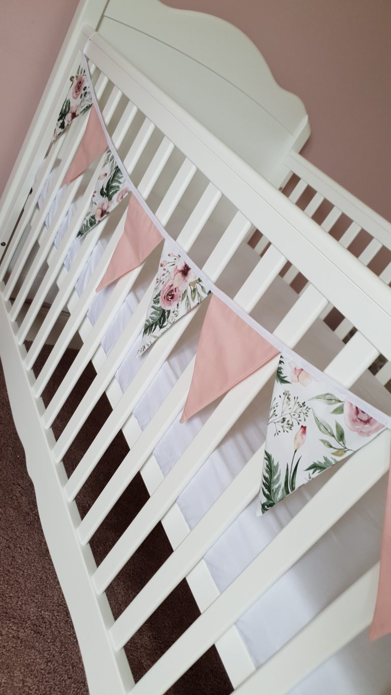 Flowers and pink cotton fabric bunting 1