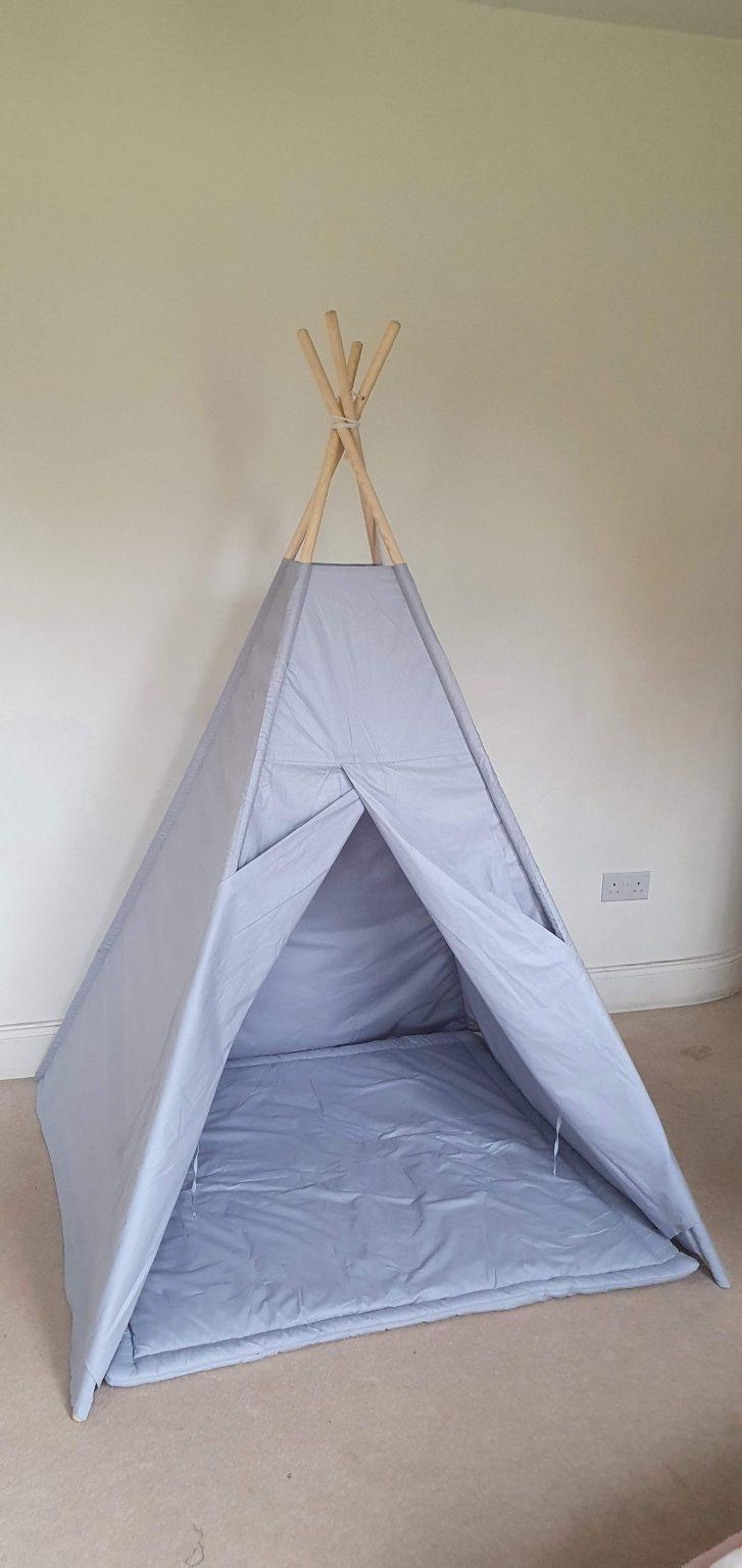 Grey cotton teepee tent set 1
