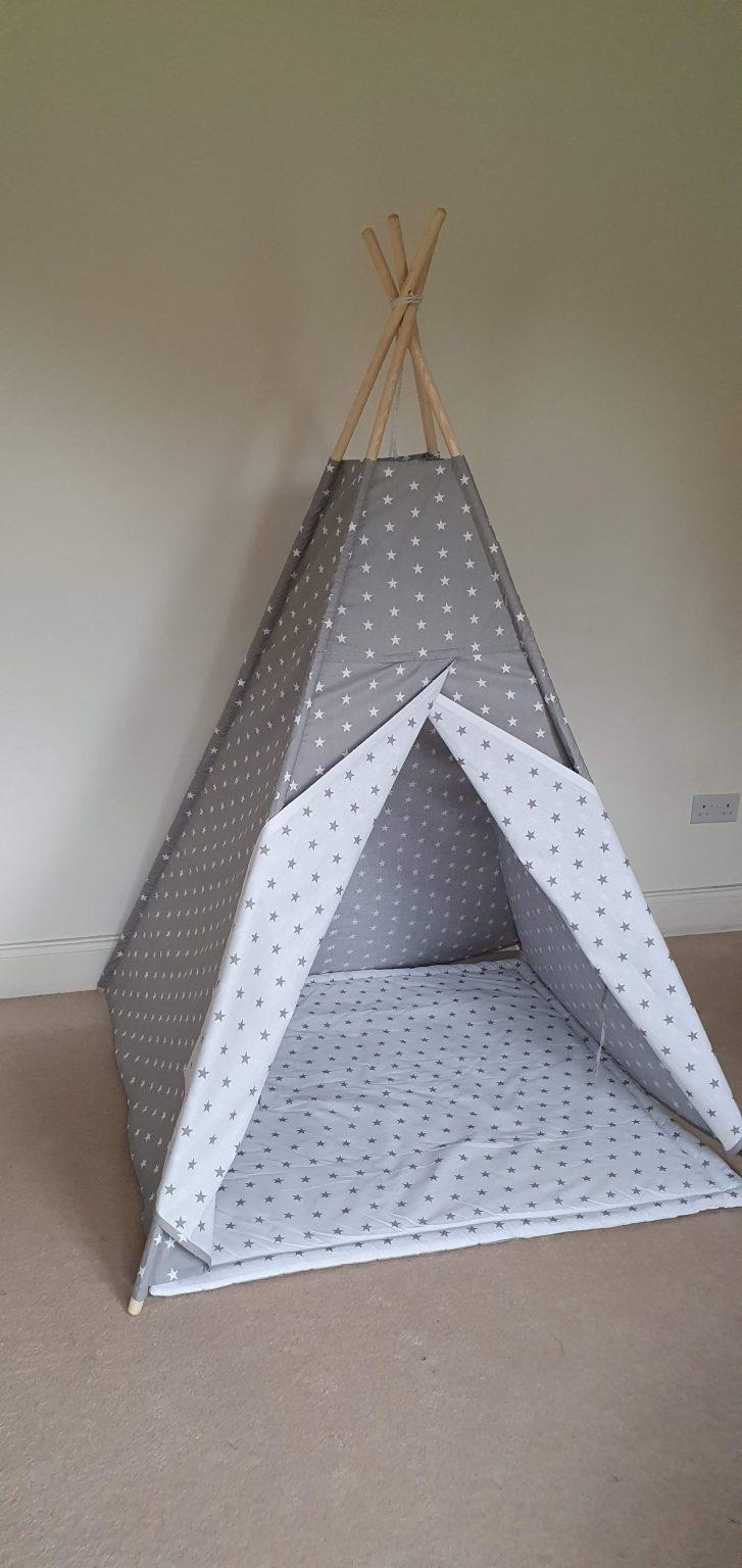 White and grey stars teepee tent set 1