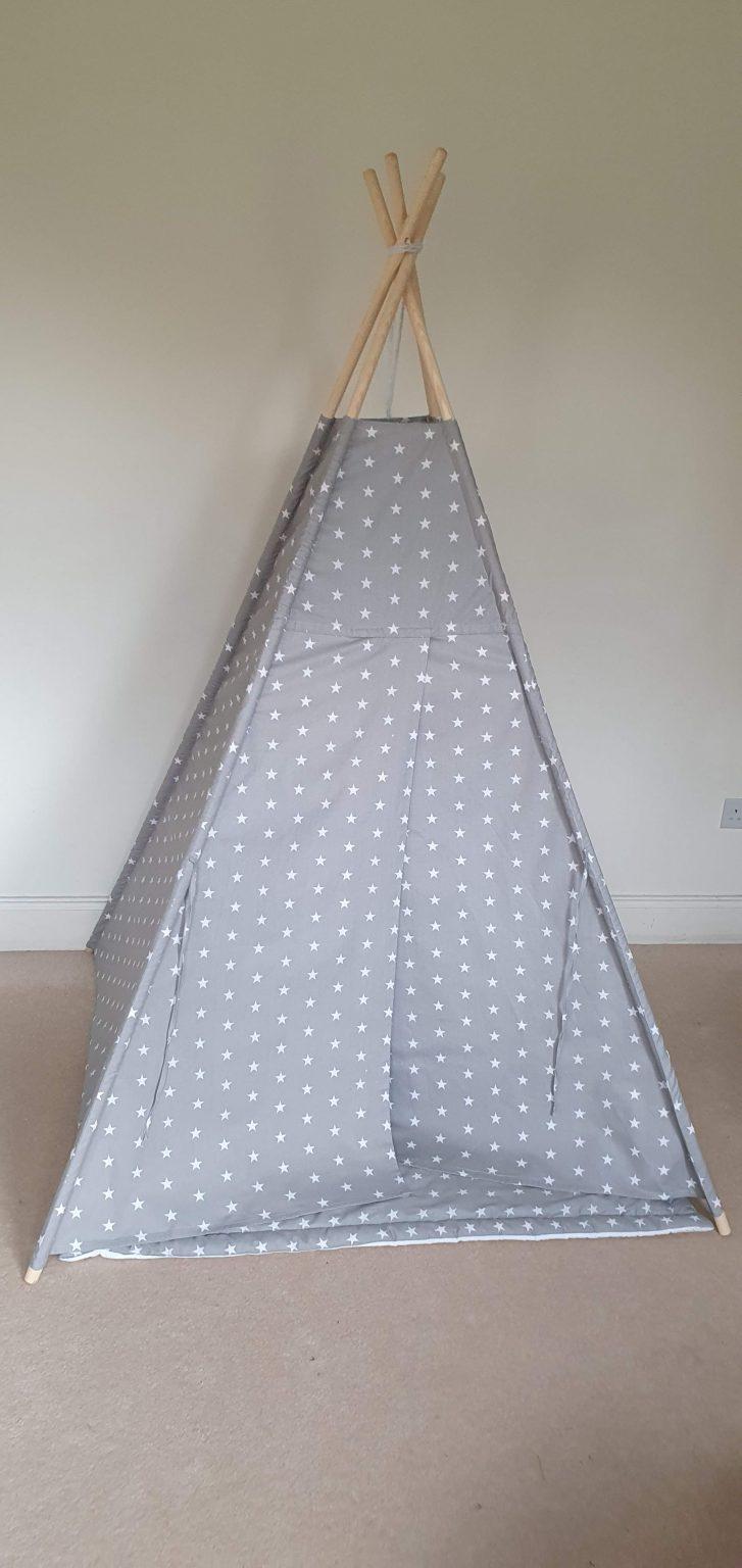 White and grey stars teepee tent set 2