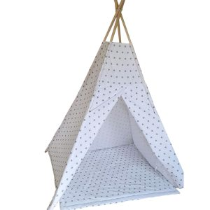 Grey stars cotton teepee tent set