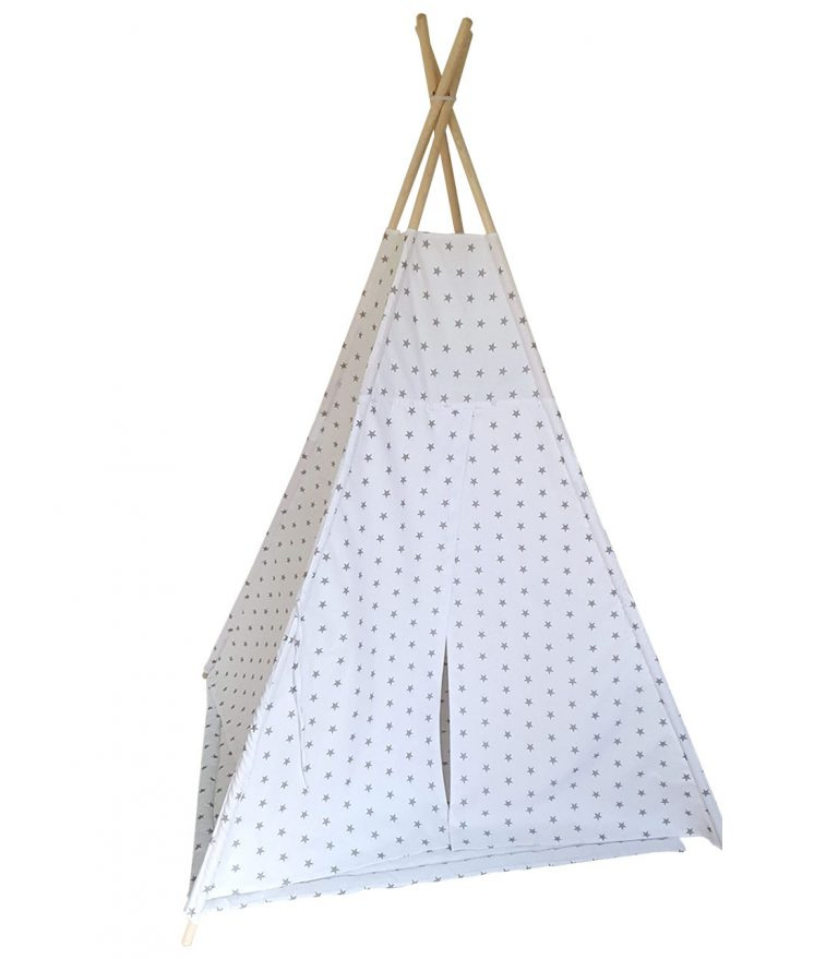Grey stars cotton teepee tent set