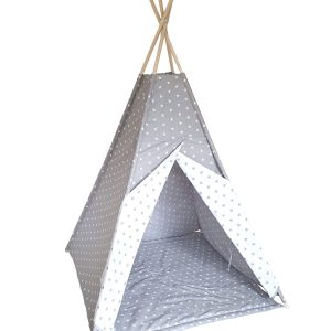 White and grey stars teepee tent set