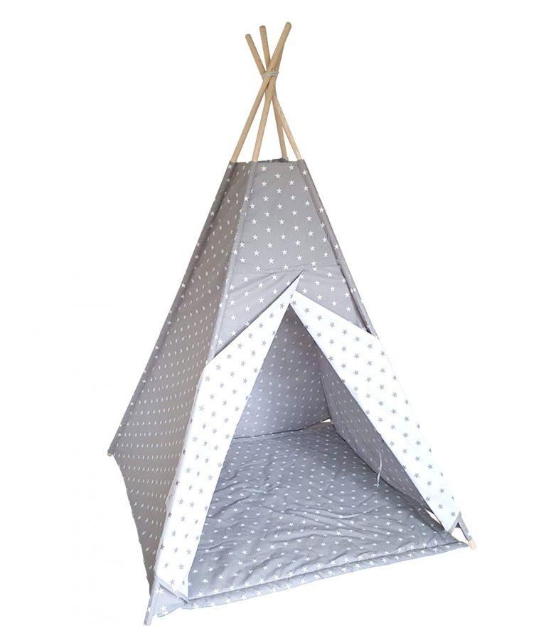 White and grey stars teepee tent set