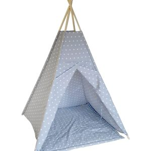 White stars on grey cotton teepee tent set