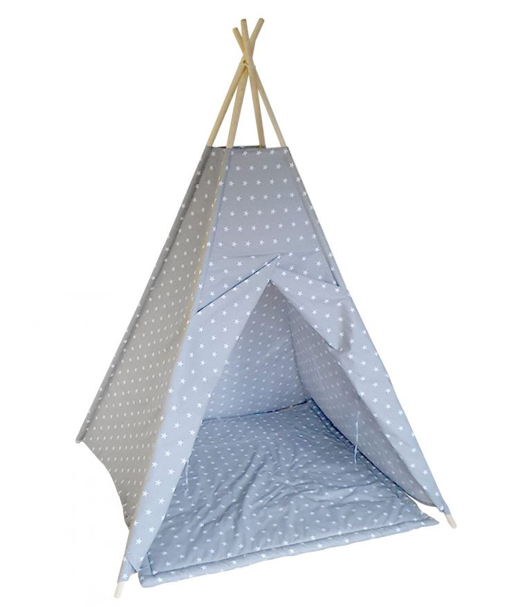 White stars on grey cotton teepee tent set