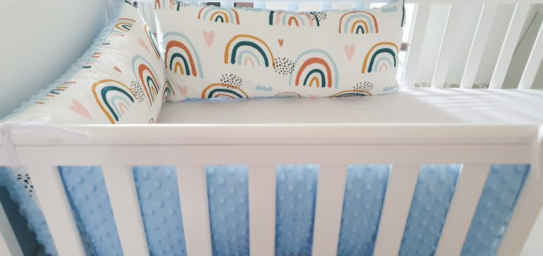 Rainbows and minky pillow bumper 4
